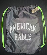 AMERICAN EAGLE DRAWSTRING BAG BACKPACK GRAY/NEON GREEN