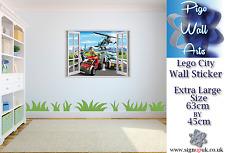 Lego City wall sticker 3D Window View Wall Stickers Art Decal Mural.