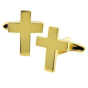 Gold Plated Christian Cross Cufflinks Presented in a Cufflink Box X2AJ740