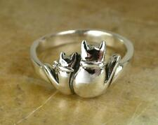 UNIQUE .925 STERLING SILVER CAT RING  size 6      CATS  style# r0601