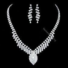 Bridal Wedding Jewelry Prom Rhinestone Crystal Necklace Earrings Set N359