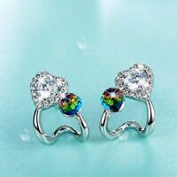 18k white gold gf made with clear Swarovski crystal ball stud heart earrings