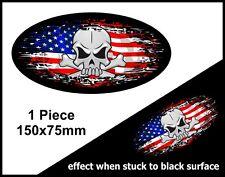SKULL Oval FADE TO BLACK American Stars & Stripes Flag vinyl car sticker 150mm