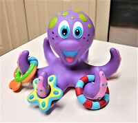 Nuby Purple Octopus Hoopla Floating Bath Toy with 3 Hoopla Rings