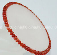 Faceted 2x4mm Carnelian Roundlle Gemstones Bracelet 7.5 inch J158