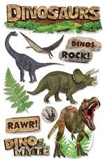 3D 10p Tyrannosaurus Triceratops Bronto Dinosaur Sticker ROCK Fossil Scrapbook