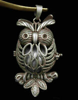 China Precious China Tibetan Silver Carved Owl Statue Pendicle