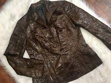 Lafayette 148 New York Jacket Blazer size 6 Brown Faux Leather Crinkle Slim