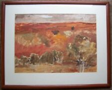 Framed untitled watercolour of a red landscape by Beryl Foster