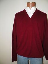 mens sweater-Roundtree&Yorke-XLarge(XL)-Maroon-vneck-100% cashmere
