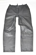 "Vintage Grey Leather Straight Leg Women's Trousers Jeans Pants Size W32"" L30"""