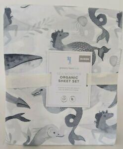 NWT Pottery Barn Kids Sea Monster Queen sheet set, gray organic cotton