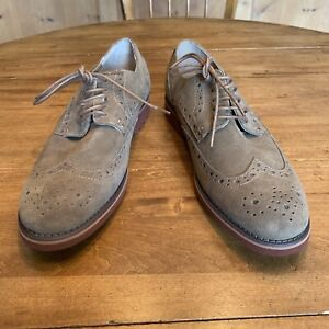 Men New G H Bass Suede Wingtips In Tan With Red  Lug Soles Size 10 W