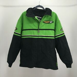 Arctic Cat Snowmobile Jackets Mens Large Green Black Insulated Activewear Zip Up