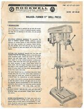 Rockwell Delta Walker Turner 17 Drill Press Operator Maintenance Manual