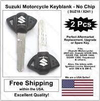 New! Suzuki Motorcycle Key Blank - Black Silver Fits: 2001-16 GSXR and Hayabusa