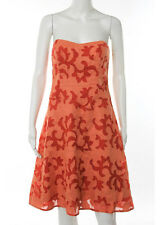 NICOLE MILLER Orange Silk Strapless A Line Knee Length Dress Sz 6