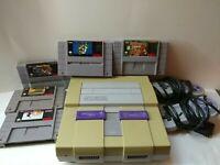 Super Nintendo SNES System Console Bundle OEM  Super Mario + Donkey Kong + More