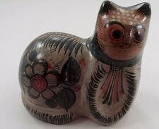Old Tonala Mexican Folk Art Handpainted Cat Figurine w/ Bird & Rabbit Hare Motif