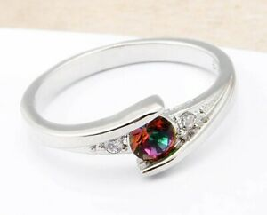 Colorful Round Cubic Zirconia Ring Silver S925  ***FREE POST***