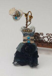 1/48 Quarter scale Steampunk silk blue dress & cream leather hat by Miss Amelia