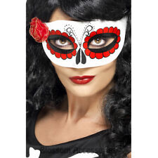 A771 Mexican Day Of The Dead Eye Mask Senorita Sugar Skull Costume Accessory