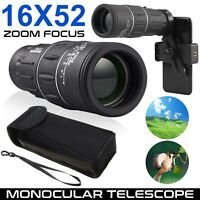 16X52 Zoom Optical HD Monocular Telescope+Clip for Outdoor Travel Hunting Hiking