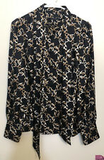 Womens Banana Republic Silk Long Sleeves Blouse Size M RN 54023 Black Ran White