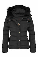 Womens Quilted Pocket Belt Padded Jacket Proof Warm Fur Zip Hooded Long UK 8-16