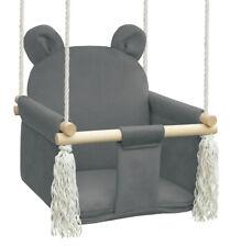 Babyschaukel Kinderschaukel Holz Indoor Schaukel BEAR graphite VELVET