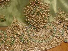 VTG PERIDOT GREEN INDIAN INDIA SATIN LACE WEDDING SARI SAREE CHOLI LEHENGA DRESS