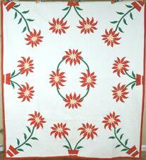VIBRANT Vintage 40's Holiday Poinsettia Applique Antique Quilt ~GREAT COLORS!