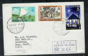 GILBERT & ELLICE ISLANDS COVER (P0807B)  QEII 3 STAMPS REG COVER  OCEAN IS TO US