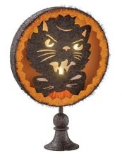 Victorian Trading Co Halloween Madcap Tomcat Black Cat Lighted Tabletop Stand