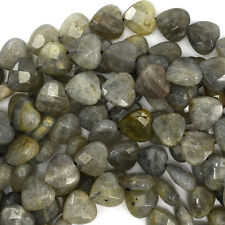 """10mm faceted grey labradorite heart beads 15.5"""" strand"""
