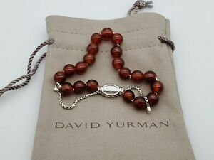David Yurman Spiritual Bead Bracelet Sterling Silver with Carnelian 8mm