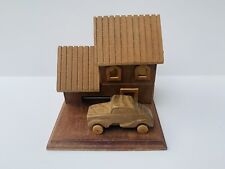 """5.5"""" Vintage Wood Music Box House With Driving Moving Car Plays """"Tijuana Taxi�"""