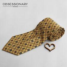 Cravatta vintage Giorgio Armani, seta, gialla, fantasia, matrimonio, testimone