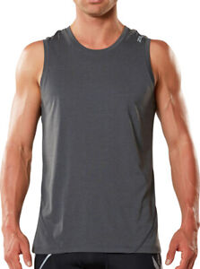 2XU X-CTRL Muscle Mens Running Vest Grey Semi Fitted Moisture Wicking Tank Top