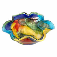 "Stormy Rainbow Murano Style Art Glass Floppy 8.5 "" Centerpiece Bowl"