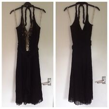 BNOWT Ladies Whistles Black 100% Silk Sequin Halter Neck Pleated Dress - Size 10