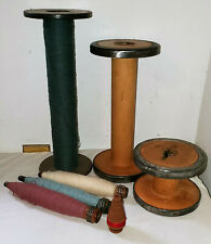 7 Vintage wooden textile weaving spools lot!  3 VERY large