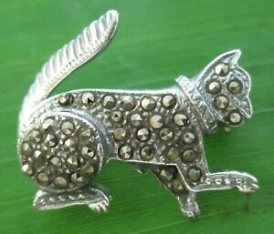 """REAL 925 sterling silver 10mmx22mm SWISS MARCASITE """"CAT"""" BOOCH - MEN WOMEN"""