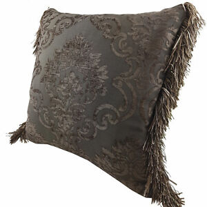 Chenille cushion cover 45cm x 45cm - French Chocolate / Brown colour trimmed wit