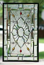 "• Beveled &Jewels Stained Glass Panel •  31 "" x 19 1/4""-Hanging ☜(゚ヮ゚☜)"