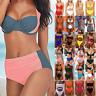 Damen Gepolstert Push-Up Bikini Set Badeanzug High Waist Bademode Schwimmanzug
