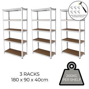 3 x Metal Racking  Shelving 5 Tier Boltless Heavy Duty Storage 200kg per Shelf
