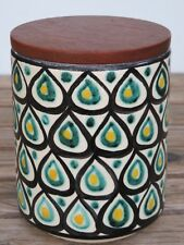 50s JAWE Keramik KAFFEE DOSE Handmalerei TEAK Design 50er 60er 60s