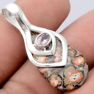 Leopard Skin Jasper and Rose Quartz 925 Sterling Silver Pendant Jewelry E417