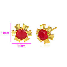 Red Ruby 18k ct Gold Filled Christmas Earrings Stud